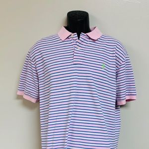 Pink & Blue Striped Polo by Ralph Lauren size XL